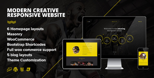 Salt - Parallax OnePage WooCommerce WordPress Shop - Creative WordPress
