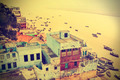 Retro view of Varanasi at Ganga River, India. - PhotoDune Item for Sale