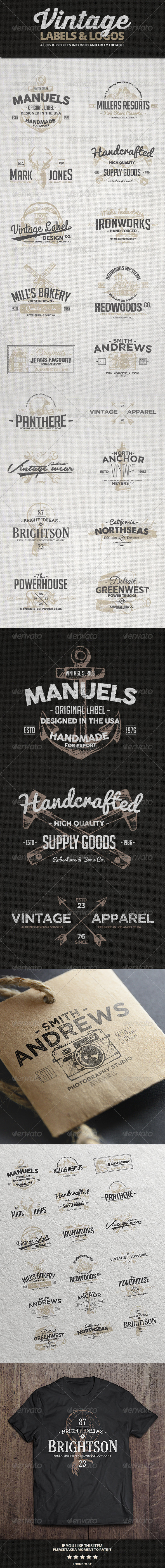 GraphicRiver Vintage Labels & Logos Vol.3 8207558