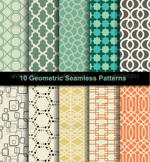 GraphicRiver Set Seamless Pattern Retro 8207567