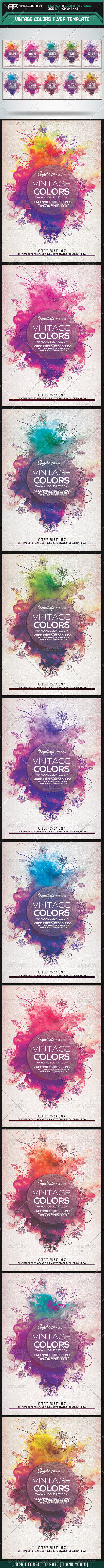 GraphicRiver Vintage Colors Flyer Template 8207713