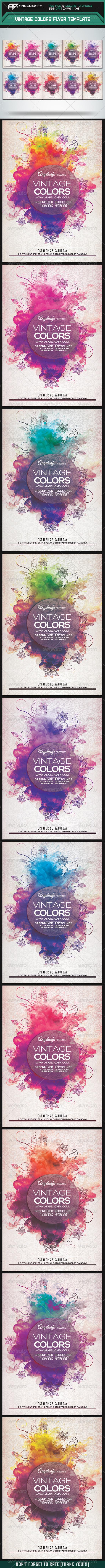 GraphicRiver Vintage Colors Flyer Template 8207713