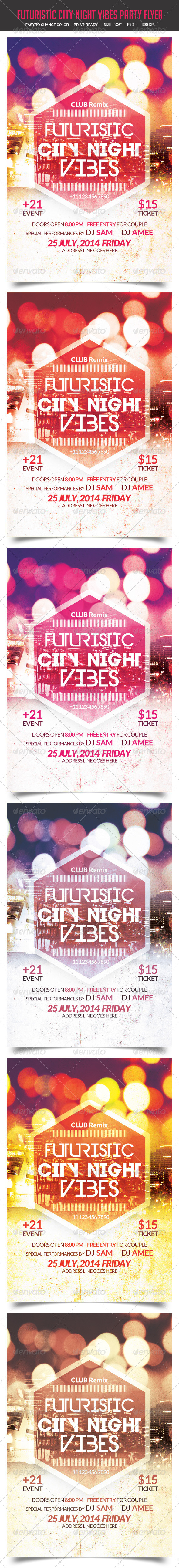 GraphicRiver Futuristic City Night Vibes Party Flyer 8207884