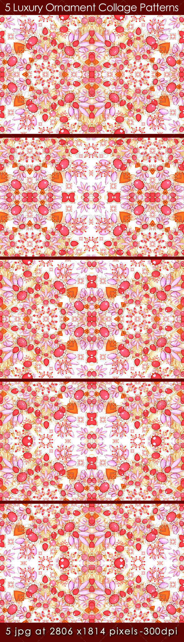 GraphicRiver 5 Luxury Ornament Collage Patterns 8197179
