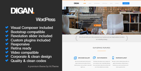 ThemeForest Digan Multipurpose WordPress Business Theme 8207925