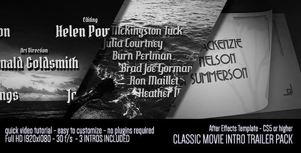 custom video intro templates - classic movie intro trailer pack after effects template