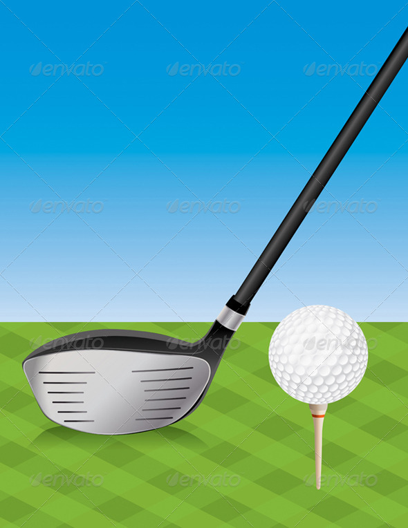 GraphicRiver Vector Golf Driver and Teed Ball 8208483