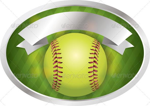 GraphicRiver Vector Softball Emblem Banner Illustration 8208643
