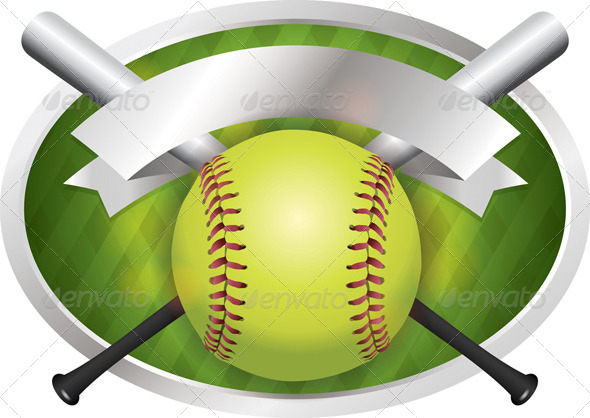 GraphicRiver Vector Softball and Bat Emblem Banner Illustration 8208662