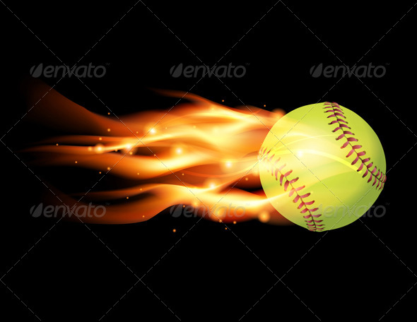 GraphicRiver Vector Flaming Softball Illustration 8208672
