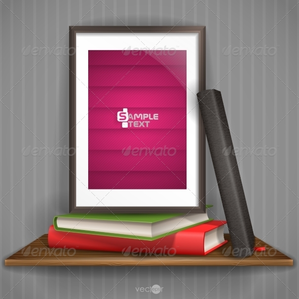 GraphicRiver Wood Shelf With Photo Frame 8208688