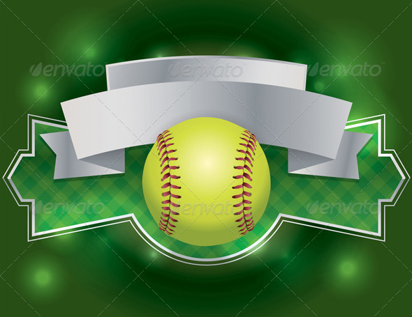 GraphicRiver Vector Softball Label and Banner Illustration 8208690