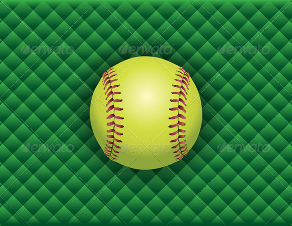 Vector Softball on a Green Checkered Background