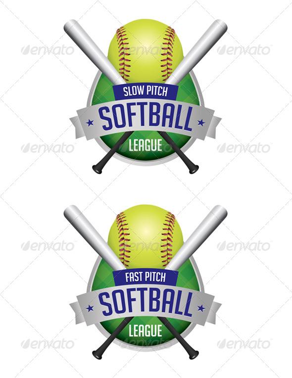 GraphicRiver Vector Softball League Emblems 8208720