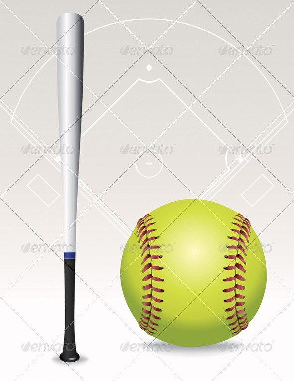GraphicRiver Vector Softball Field Ball Bat Illustration 8208732