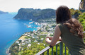 Girl from behind watching the view of Marina Grande in Capri - PhotoDune Item for Sale