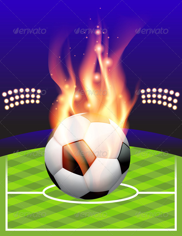 GraphicRiver Vector Flaming Soccer Football Background 8208753