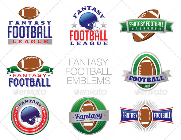 Vector Fantasy Football Emblem Illustrations