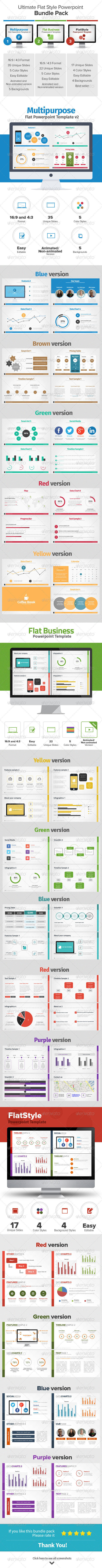 GraphicRiver Ultimate Flat Style PowerPoint Bundle Pack 8208988