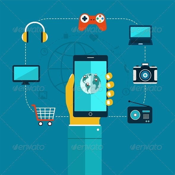 GraphicRiver Concept of Mobiles App Phone in Hand 8209286