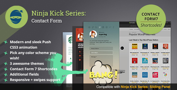 Ninja Kick: WordPress Contact Form is a premium plugin that adds contact form with content push animation effect and clean design on every page of your site. E