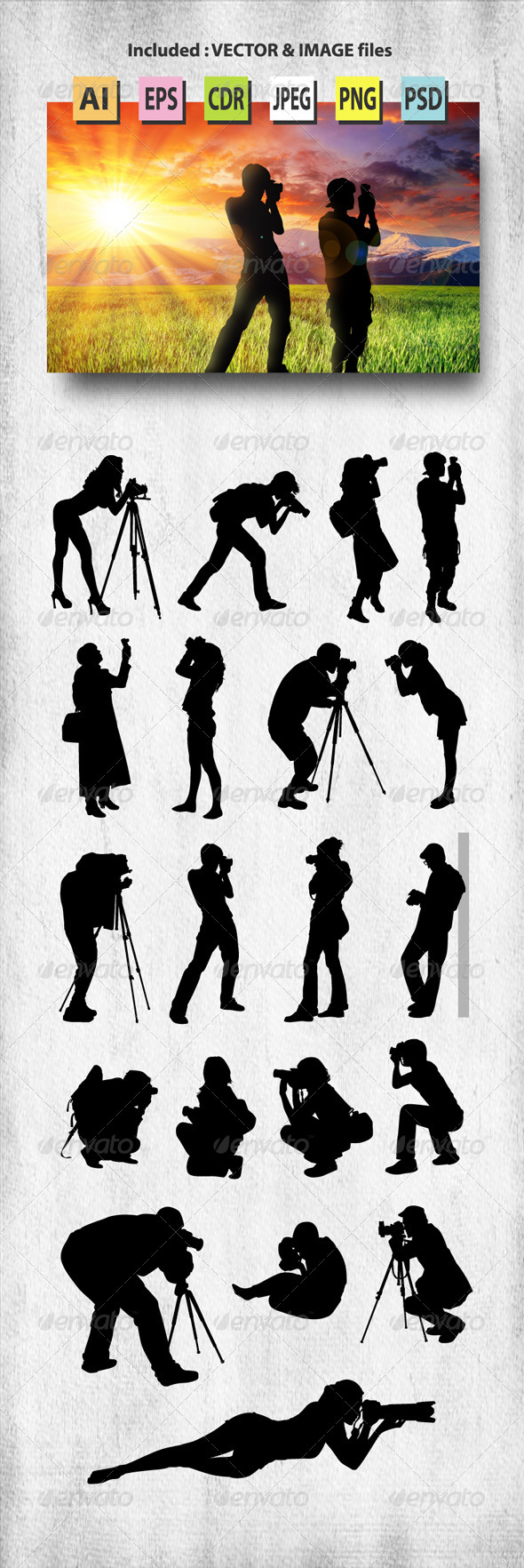 GraphicRiver Photographer Silhouettes 8210209