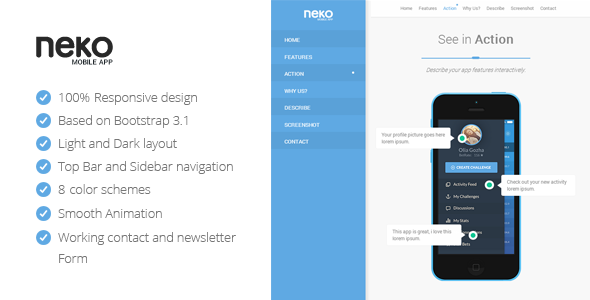 ThemeForest Neko Responsive Bootstrap App Landing Page 8127519