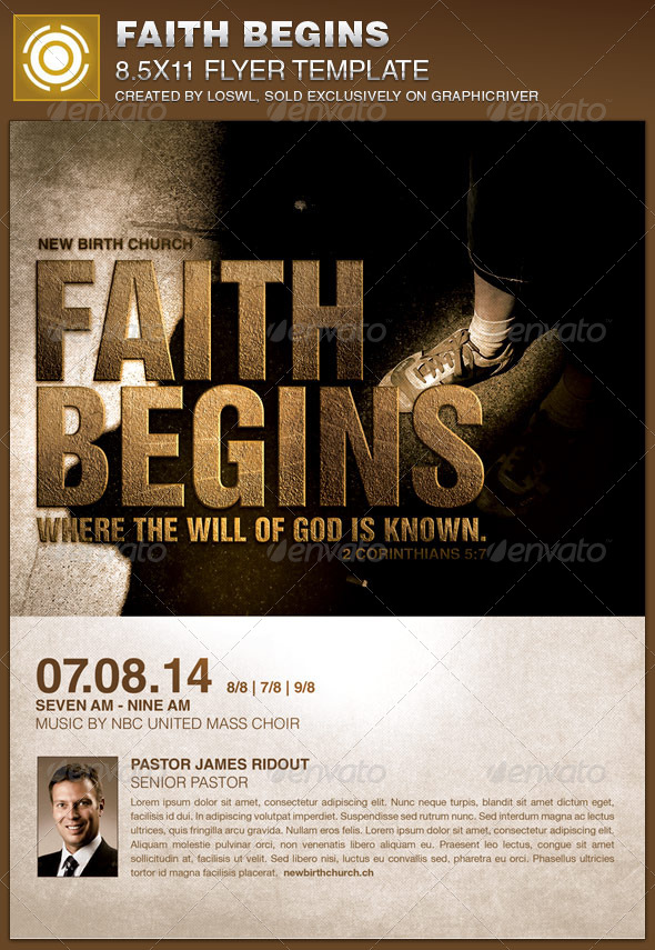 GraphicRiver Faith Begins Church Flyer Template 8210344