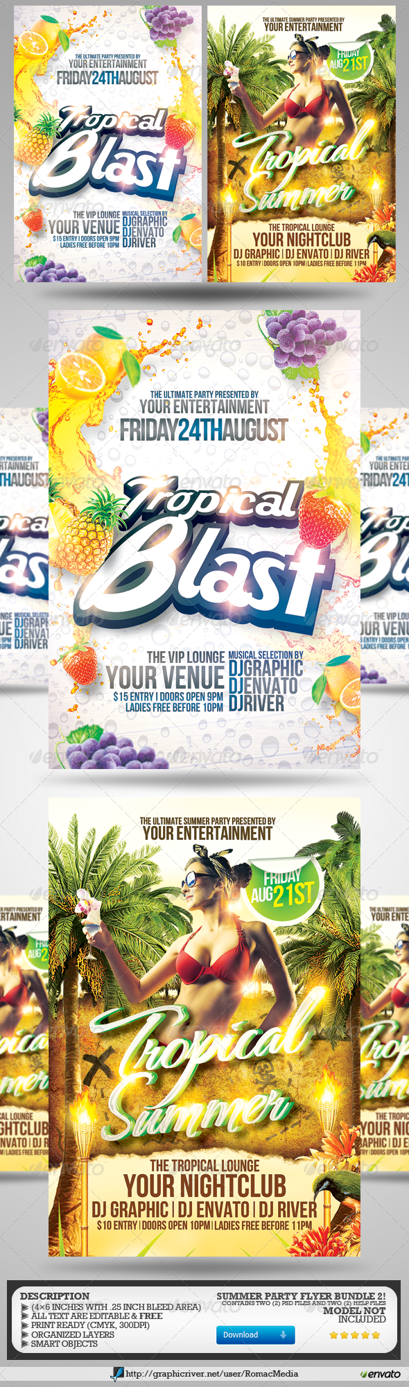 GraphicRiver Summer Party Flyers Bundle 2 8210457