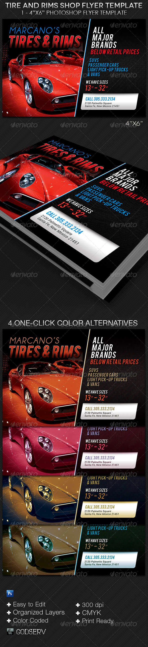 GraphicRiver Tire and Rims Shop Flyer Template 8210545