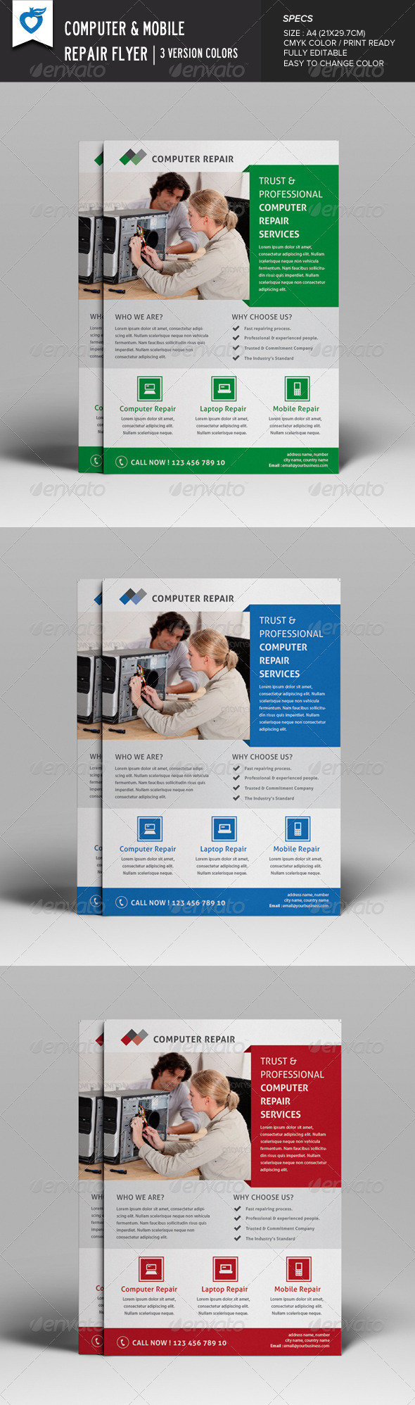 GraphicRiver Computer & Mobile Repair Flyer 8210548
