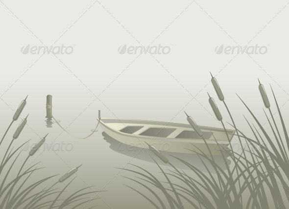 GraphicRiver Lake Boat Reeds 8210559