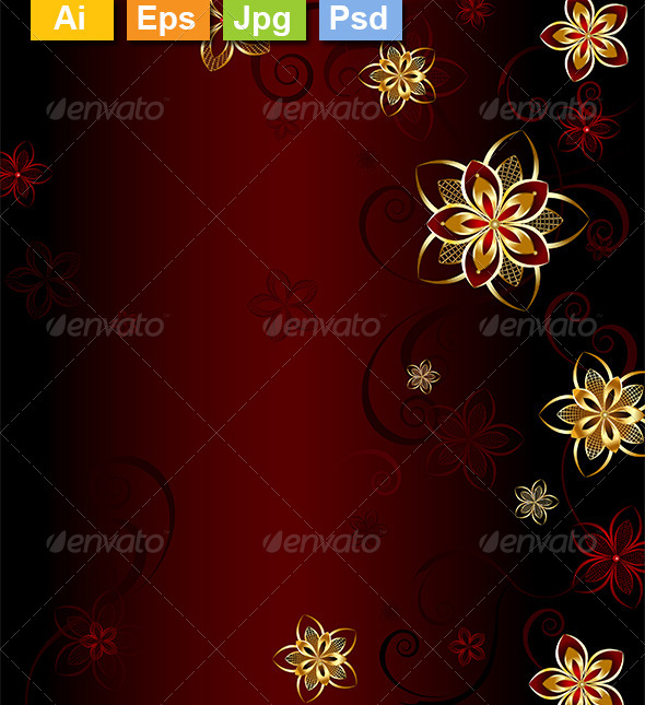 GraphicRiver Red Background with Gold Flowers 8212864