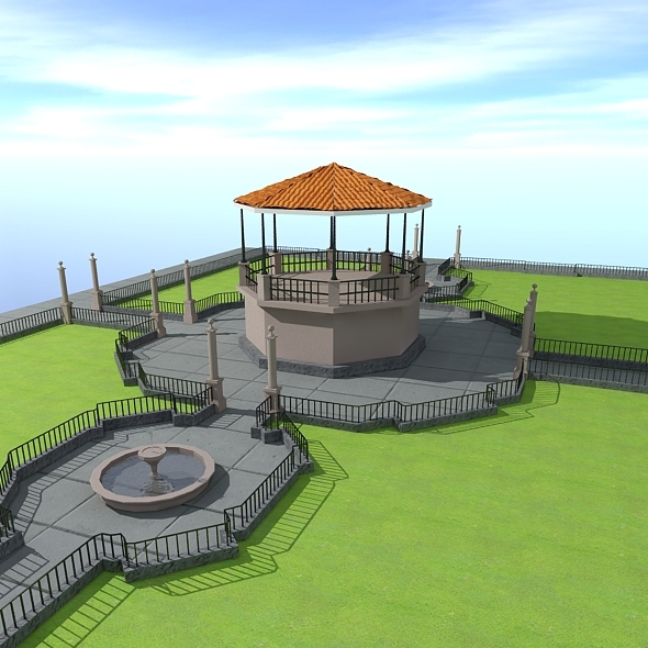 Park + kiosk - 3DOcean Item for Sale