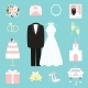 Suit and Gown Surrounded by Wedding Icons - GraphicRiver Item for Sale