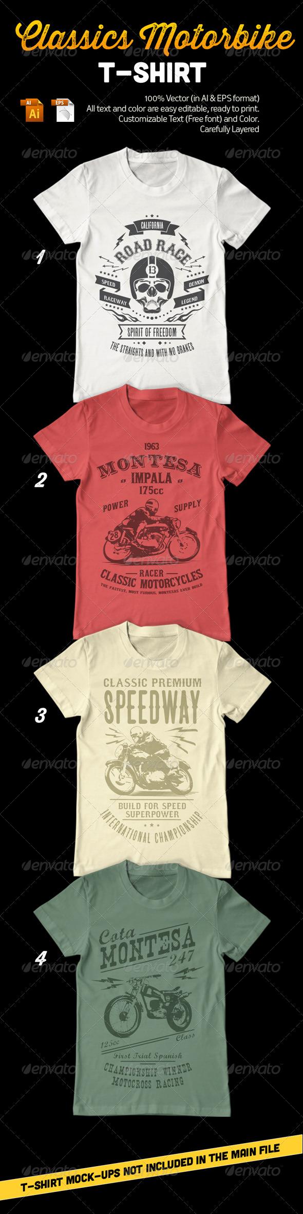 GraphicRiver Classic Motorbike T-Shirt 8215564