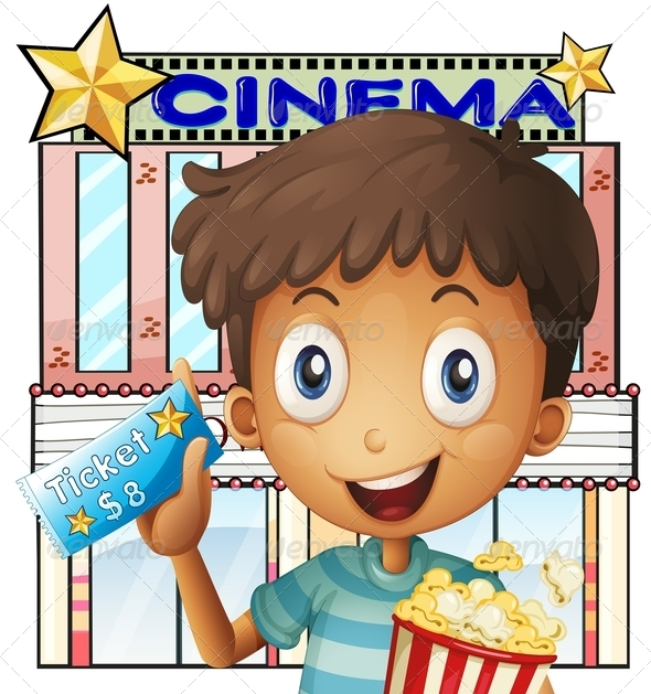 GraphicRiver Boy holding a Pail of Popcorn and a Ticket Outs 8215796