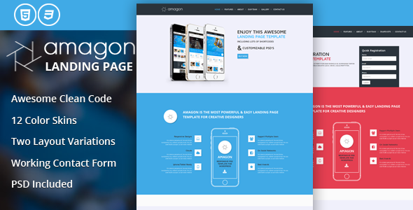 Amagon Flat Bootstrap Landing Page Template - Marketing Corporate