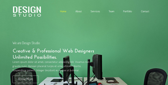 Design Studio One Page Muse Template - Corporate Muse Templates