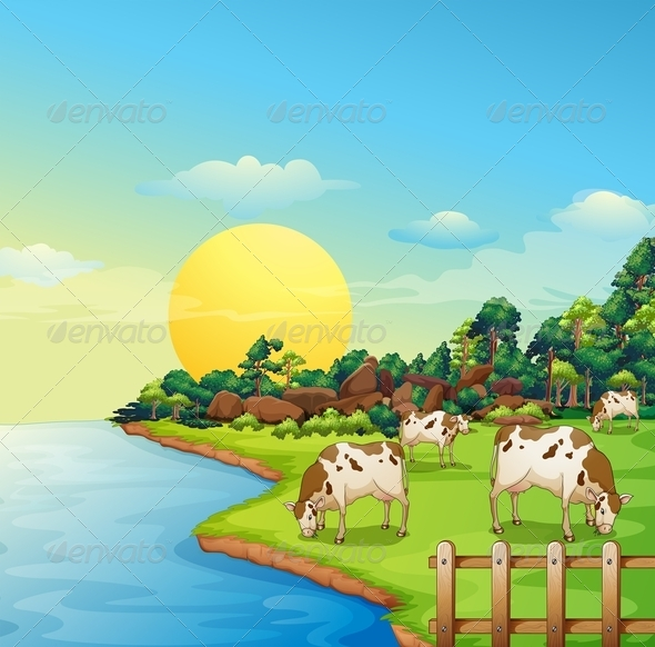 GraphicRiver Cows at the Farm 8215857