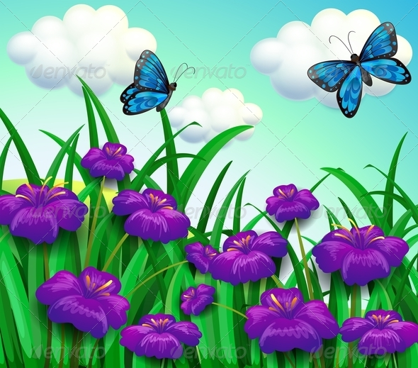 GraphicRiver Butterflies at the Garden 8215891
