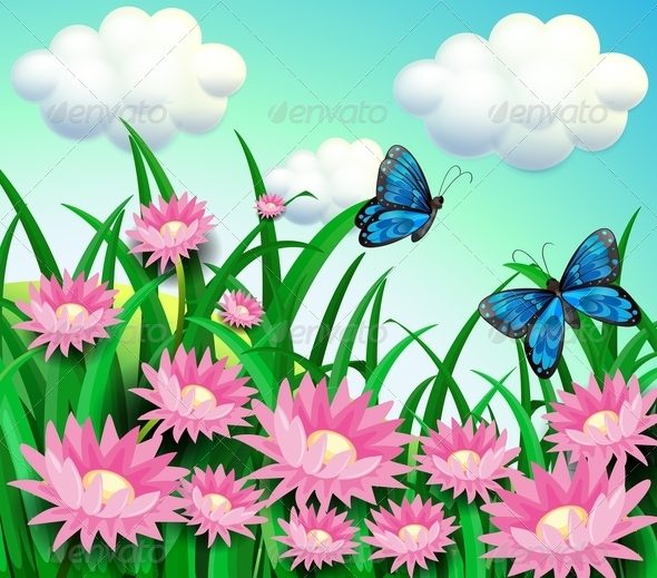 GraphicRiver Butterflies at the Garden 8215897