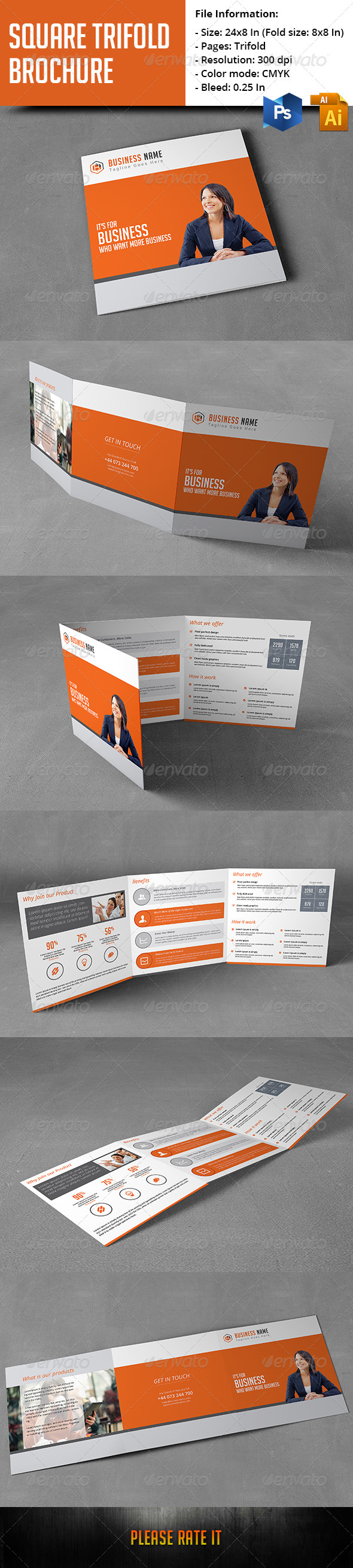 GraphicRiver Square Trifold Brochure 8216051