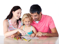 Nice family drawing together