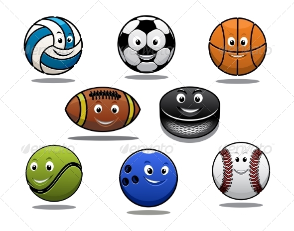 GraphicRiver Cartoon Sports Balls 8216309