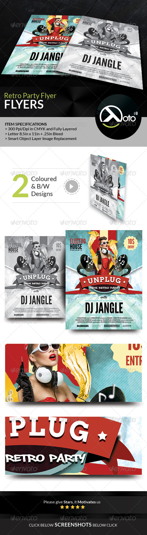 GraphicRiver Indie Retro Concert Party Event Flyers 8216384