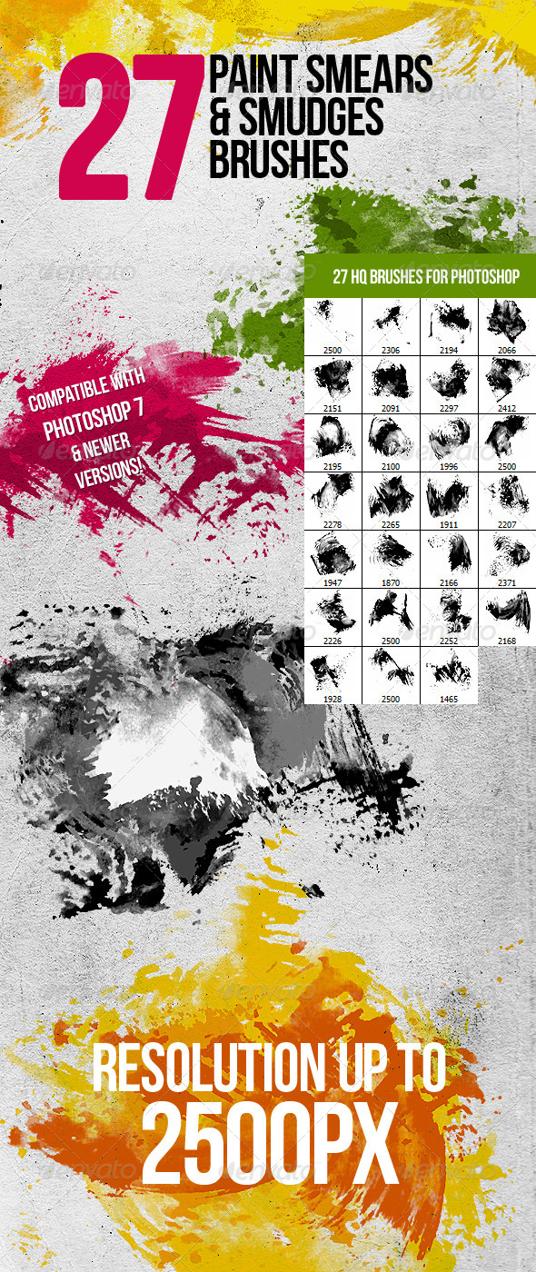 27 Paint Smears & Smudges Photoshop Brushes - Brushes Photoshop