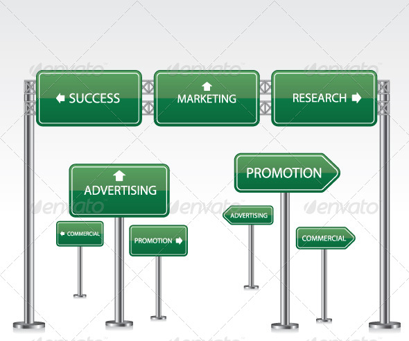 GraphicRiver Marketing Green Road Signs 8216476