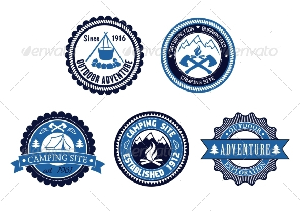 GraphicRiver Set of Outdoor Adventure and Camping Emblems 8216488