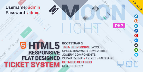 MoonLight Bootstrap Responsive Ticket System - CodeCanyon Item for Sale